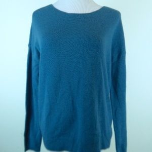 ONLY MINE TEAL CASHMERE BACK ZIP TUNIC SWEATER S